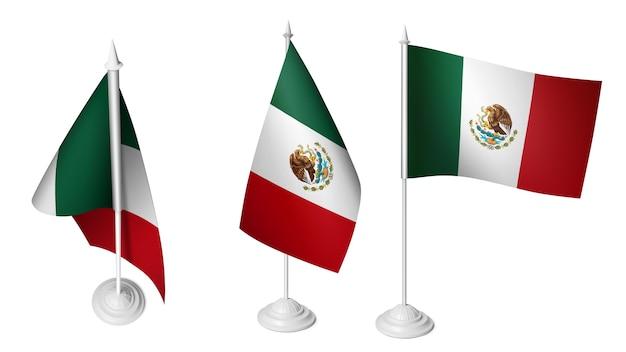 3 isolierte kleine schreibtisch mexikanische flagge winken 3d realistische mexikanische foto