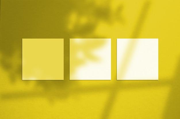 3 quadratische poster modell illuminating pantone farbe des jahres 2021.