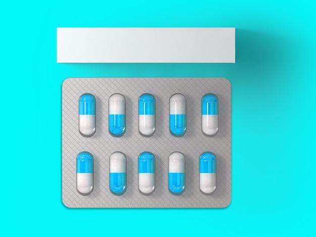 3 rendering leere weiße verpackung für blister von pillen auf farbigem hintergrund isoliert. passend für ihr gestaltungselement.