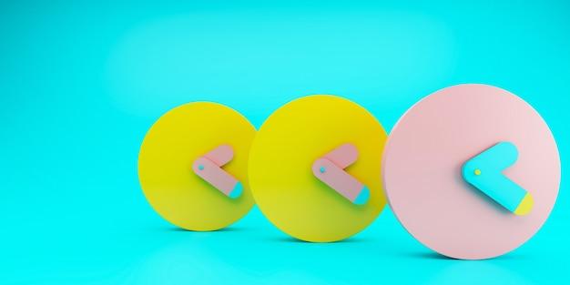 3 wecker mit leuchtend blauem hintergrund gelbe und rosa farbe, farbiges zeitkonzept, minimale komposition, stilvolle abstrakte uhr, platz für text und kopie. 3d-illustration.