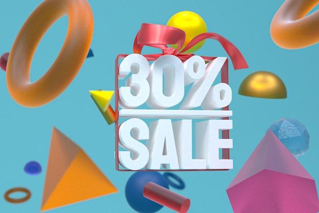 30% verkauf mit bogen und band 3d-design auf abstrakter geometrie-hintergrund