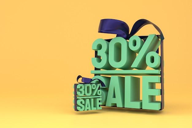 30% verkauf mit bogen und band 3d-design auf leerem hintergrund