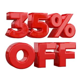 35% rabatt auf weißem hintergrund, sonderangebot, tolles angebot, verkauf. fünfunddreißig prozent rabatt auf werbeartikel