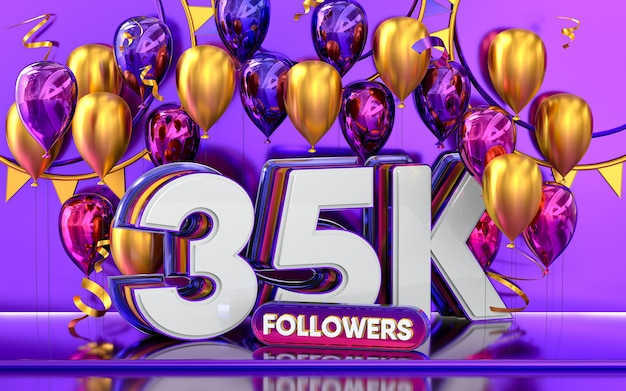 35k-follower-feier danke social-media-banner mit lila und goldenem ballon 3d-rendering