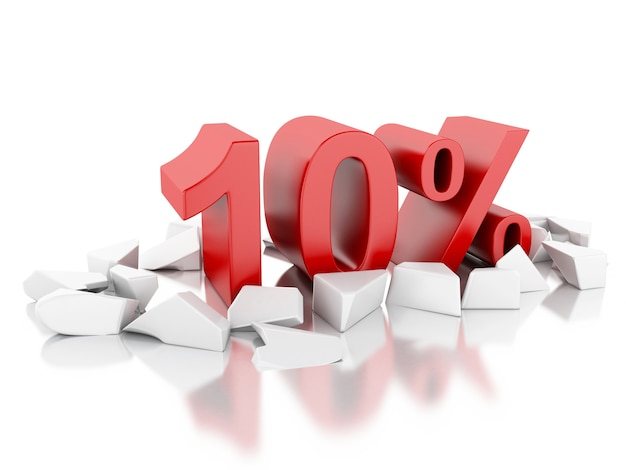 3d 10% symbol auf rissige oberfläche