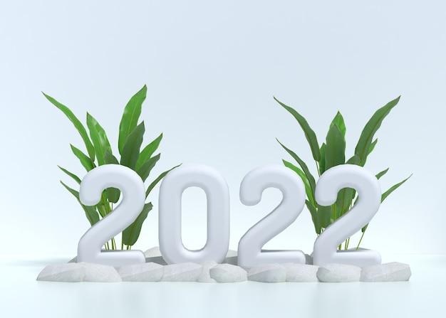 3d 2022 szenenhintergrund mit tropischen elaves auf weißem raum
