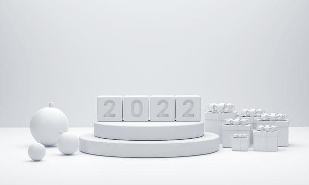 3d 2022 weißes podium weihnachtskugeln und geschenkboxen für showprodukt auf dem weihnachtsfest