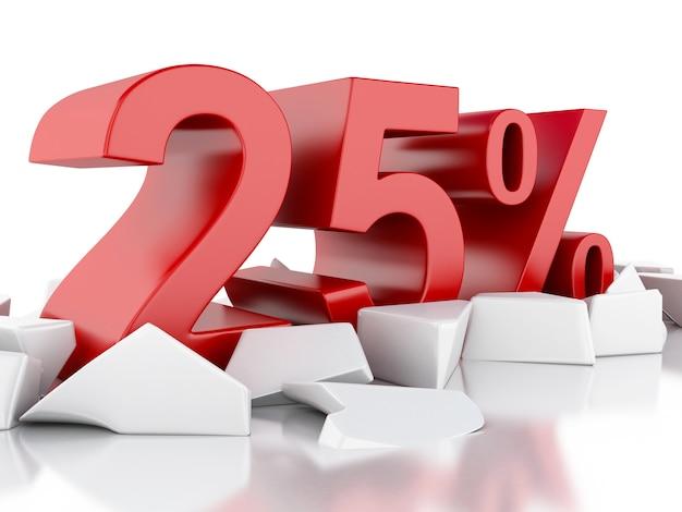 3d 25% symbol auf rissige oberfläche