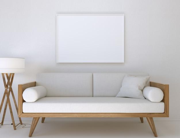 3d-abbildung. modell eines leeren posterrahmens, der in einem modernen wohnzimmer an der wand hängt.