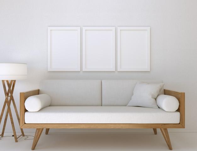 3d-abbildung. modell von drei leeren posterrahmen, die in einem modernen wohnzimmer an der wand hängen.