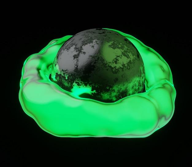3d abstrakte darstellung planet glänzend grün neonlicht hintergrund