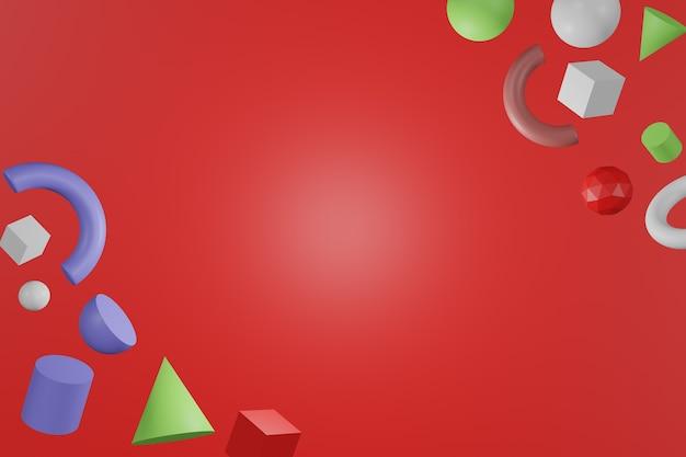 3d abstrakte farbige geometrische formen auf rotem farbhintergrund.