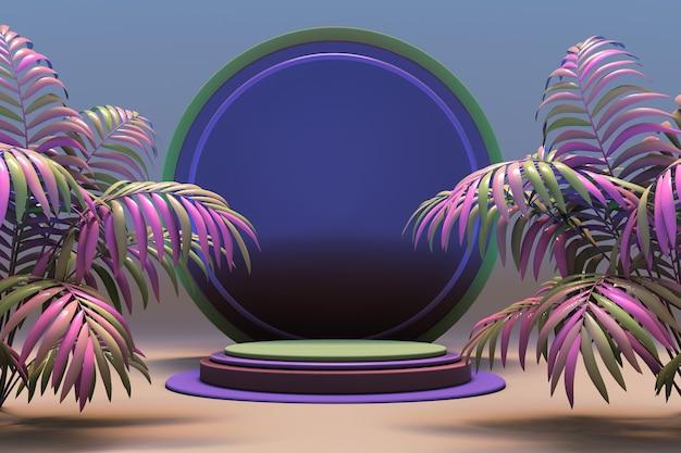 3d abstrakte geometrische form minimales bühnenpodium mit tropischem rosa palmensommerhintergrund