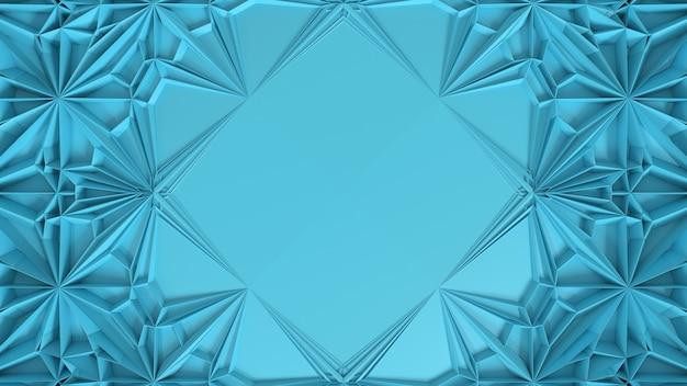 3d abstrakte geometrische kaleidoskop-transformation. fraktale verzerrung der oberfläche mit zentralem platz für text. 3d-darstellung.