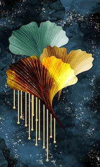 3d abstrakte kunst funktionale kunst wie aquarell geode malerei goldene grüne blätter