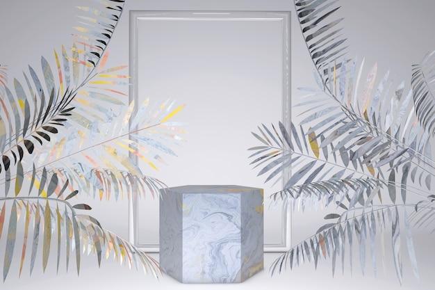 3d abstrakte minimale geometrische. bühnenpodest mit grauen silbernen tropischen palmblättern schatten. leere szene für produktshow