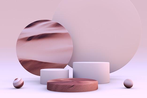 3d abstrakte sandige beige zylinderpodestpodeste pastellstudio