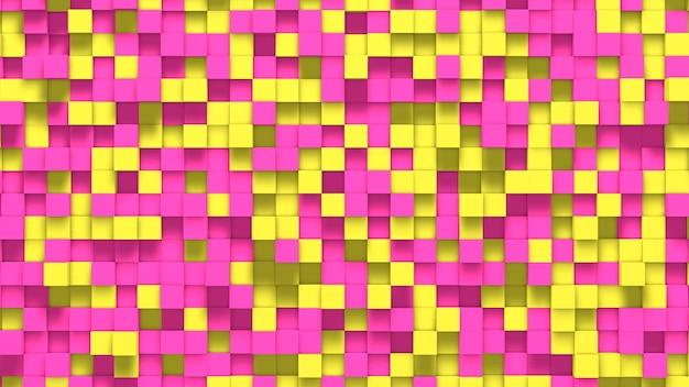 3d abstrakter gelber und rosa würfelhintergrund
