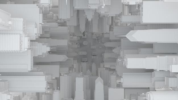 3d abstrakter heller hintergrund. wolkenkratzer-perspektive. abstrakte architektur mit details. konzeptstruktur mit symmetrie von gebäuden.