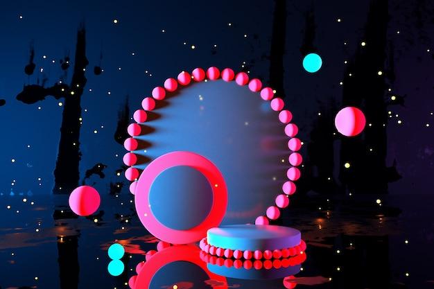 3d abstrakter heller neongeometrischer hintergrund cyberspace virtuelle realität ultraviolett leuchtendes rosa podiumsportal am fantastischen raum minimaler wolkenkratzer nachthimmel