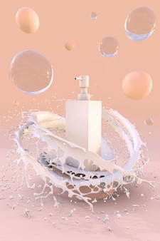 3d-abstrakter hintergrund für branding und minimale präsentation. kosmetische weiße flasche mit cremefarbenem foundation-spritzer und blasen.