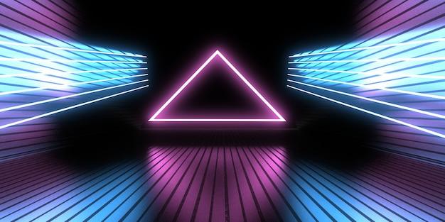 3d abstrakter hintergrund mit neonlichtern. neon-tunnel. .raumbau . .3d-darstellung33