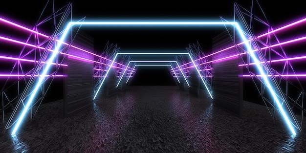 3d abstrakter hintergrund mit neonlichtern. neontunnel .raumbau . .3d-darstellung