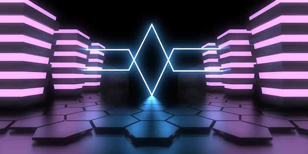 3d abstrakter hintergrund mit neonlichtern. .raumbau . .3d-darstellung