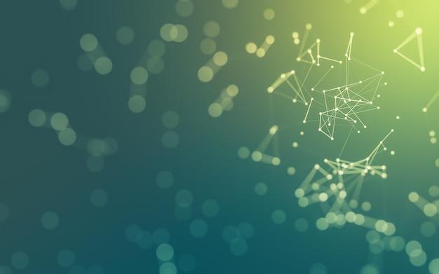 3d abstrakter hintergrund molekültechnologie mit polygonalen formen, die punkte und linien verbinden
