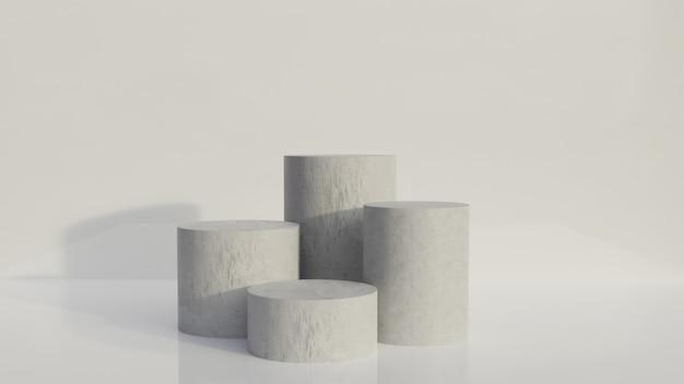 3d abstrakter weißer hintergrund beton vier standdesign stand