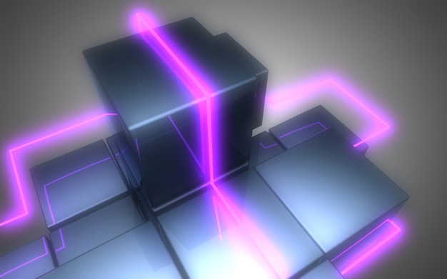 3d abstrakter würfelhintergrund mit neonlichtern. 3d-darstellung3