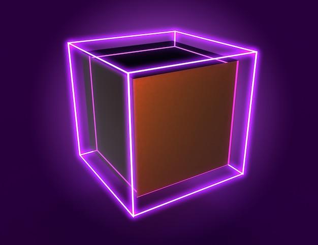 3d abstrakter würfelhintergrund mit neonlichtern. 3d-darstellung