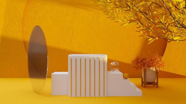 3d abstraktes gelbes und weißes konzeptproduktstanddesign