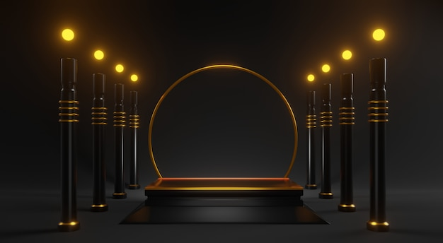 3d abstraktes goldmodell mit schwarzen säulen auf schwarz