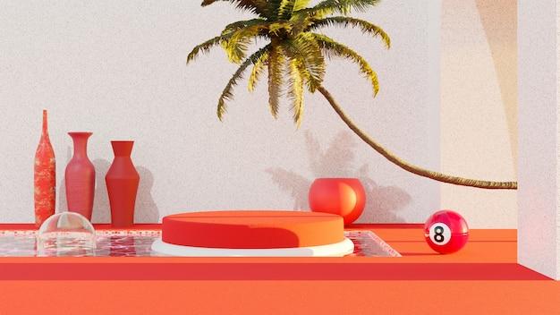 3d abstraktes konzept rotes und weißes sonnenuntergang-pool-design