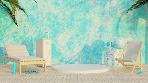 3d abstraktes konzept urlaub blau-weißes display-ständer-design