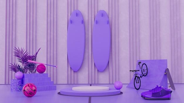3d abstraktes lila monochromatisches konzept produktsport-display-ständer-design
