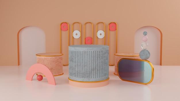 3d abstraktes mattes buntes konzept drei produkt-display-ständer-design