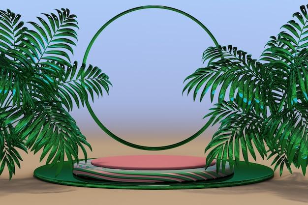 3d abstraktes minimales geometrisches formpodium mit leerer szene der tropischen palme für produktshow-mock-up