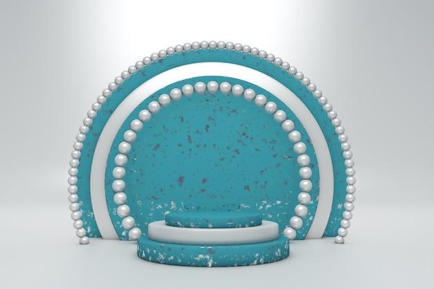 3d-abstraktes minimalistisches konzept blaues leeres podium mit rundem rahmen vor weißem hintergrund studio für die präsentation von kosmetikprodukten