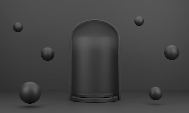 3d abstraktes rundes podium und ball für die produktpräsentation mit schwarzem hintergrund
