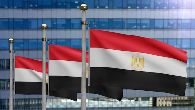 3d, ägyptische flagge weht im wind mit moderner wolkenkratzerstadt. ägypten banner weht, weiche und glatte seide. stoff textur fähnrich hintergrund. verwenden sie es für das konzept für nationalfeiertage und länderanlässe.