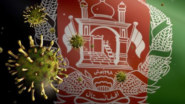 3d, afghanische flagge weht mit coronavirus-ausbruch, der das atmungssystem als gefährliche grippe infiziert. influenza-virus vom typ covid 19 mit nationalem afghanistan-banner, der hintergrund weht. pandemie-risikokonzept