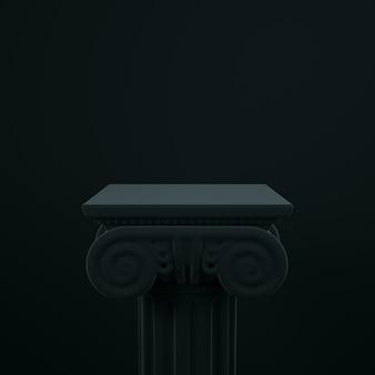 3d antike griechische spalte rendern. produkt präsentiert schwarzes modell.