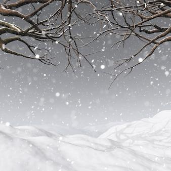 3d auf einem verschneiten hintergrund eines winterbaums machen