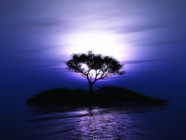 3d auf einer insel gegen einen lila sonnenuntergang himmel eines baumes machen