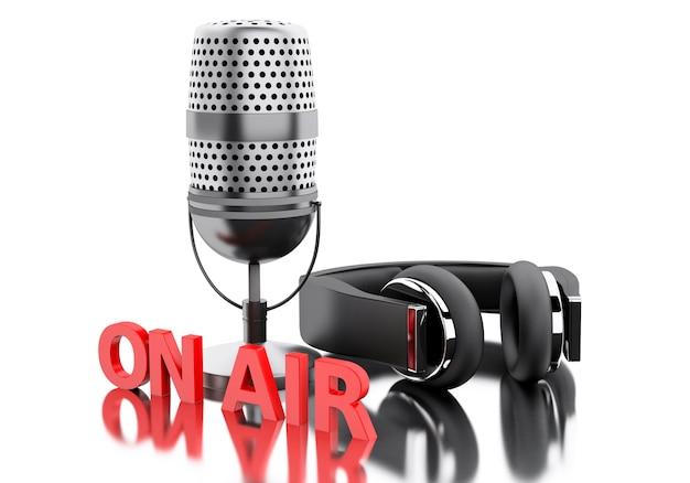 3d auf luftwort mit einem mikrofon und kopfhörern.