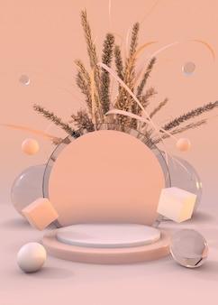 3d-ausstellungsstand mit trockenen herbstpflanzen rosa sockelzusammensetzung für schönheitsprodukt minimal