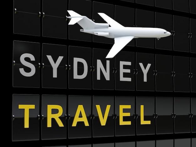 3d australia flughafen abflüge. reise nach sydney
