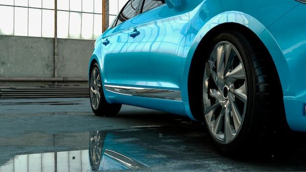 3d-auto-limousine steht in einem hangar mit reflexion in einer pfütze, konzept 3d-rendering für werbung für auto-produkte.